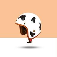Mũ Bảo Hiểm 3 4 Đầu SRT Tem Bò Sữa Đáng Yêu Lót Nâu Cao Cấp - Tặng Nón Lưỡi Trai thumbnail