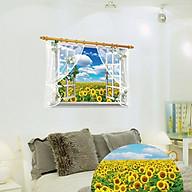 Decal dán tường trang trí phòng khách, quán cafe- Cửa sổ hoa hướng dương- mã sp DSK9020 thumbnail
