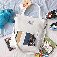 Túi vải canvas đeo vai thời trang kèm móc khóa gấu mang cực dễ thương thumbnail