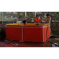 Bể bơi mini 1.3m x 2.2m x 0.6m cho bé bể bơi khung kim loại, bể bơi lắp ghép tại NHÀ thumbnail