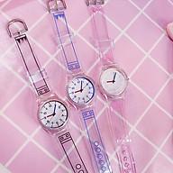 Đồng hồ thời trang nữ mặt số Nt1 dây nhựa dẻo trong suốt thumbnail
