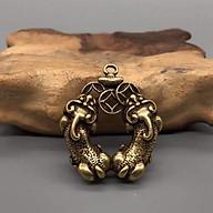 Móc khóa 2 Tỳ Hưu ngậm tiền trái tim cầu tài lộc, tình duyên, dùng trưng bày trên bàn, làm móc khóa - SP001531 thumbnail