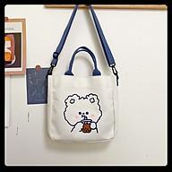 Túi tote vải canvas nữ đeo vai mini họa tiết gấu thỏ cute thời trang Ulzzang Hàn Quốc thumbnail