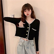 Áo khoác len cadigan nữ cộc -dài tay phối viền hạt túi 2 bên nổi bật thumbnail