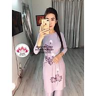 Bộ Áo Dài Hoa Dây Phật tử - thời trang đi chùa cao cấp - áo dài lam thumbnail