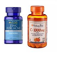 Combo giảm mụn ngừa thâm Puritan s Pride Kẽm ngăn ngừa mụn Zinc for Acne 100 viên + Vitamin C 1000mg 100 viên nhộng thumbnail