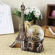 Quả cầu tuyết tháp Eiffel, Quả cầu pha lê tuyết có đèn led và tháp Eiffel - Màu vàng thumbnail