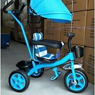 Xe đạp 3 bánh cần đẩy có bàn đạp, mái che, bảo hiểm, để chân- màu cho bé trai thumbnail