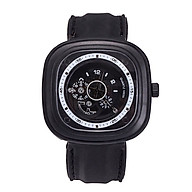 Đồng hồ thời trang nam Pb1, mặt vuông dây silicon, hoạt động 3 kim Giờ - Phút - Giây, thumbnail