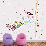 Decal dán tường trang trí phòng cho bé, lớp mầm non- Thớc đo thú và cô bé dễ thương, vui nhộn- Mã sp DXL8247 thumbnail