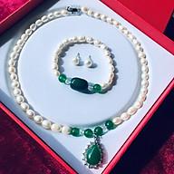 Bộ trang sức Ngọc trai tự nhiên, kèm GIẤY KIỂM ĐỊNH SẢN PHẨM MẪU TẠI SJC LAB, Cỡ hạt 8li, bao gồm Vòng Cổ + Lắc tay + Hoa tai + Hộp lót gấm thumbnail
