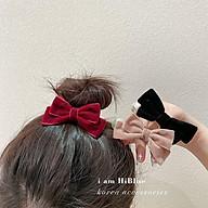 Búi tóc nơ nhung hai màu đen trắng đính hột Hàn Quốc siêu xinh 2021 thumbnail