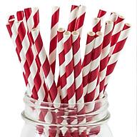 Hộp 200 ống hút giấy màu trắng đỏ dùng cho cà phê, nước ngọt 197x6mm thumbnail