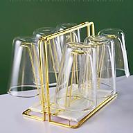 Giá úp cốc, ly mạ vàng sang trọng GS1022, kèm khay hứng nước thumbnail