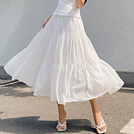 RECHIC Chân Váy Kirany Màu Trắng dáng xòe dài phối đố xinh xắn dễ thương thumbnail