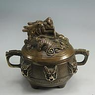 Lư trầm rồng cuốn bằng đồng thau dùng để xông trầm hương đồ thờ phụng cao cấp Tâm Thành Phát thumbnail