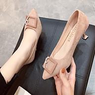 Giày nữ thời trang mũi nhọn da lộn phối mặt chữ đính đá siêu xinh F958 cao cấp thumbnail