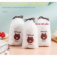 Set 100 màng bọc thực phẩm túi gấu Màng bọc thực phẩm PE có chun bọc đồ ăn co giãn tái sử dụng thumbnail