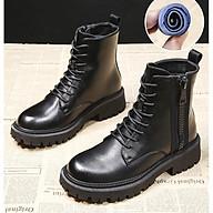 Giày Bốt Nữ Cổ Lửng Da PU Đế Vuông 4cm Mã H82 thumbnail