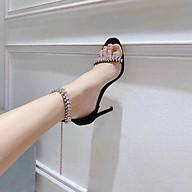 Giày sandal cao gót quai đính đá sang chảnh kèm ảnh thật thumbnail