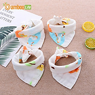 Khăn yếm tam giác cho bé Bamboo Life hàng chính hãng từ sợi tre 4 lớp Khăn yếm quàng cổ giữ ấm cho bé sơ sinh (Giao màu ngẫu nhiên) thumbnail
