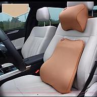 Bộ gối tựa đầu và tựa lưng xe hơi, xe ô tô V2 chất liệu cao su non cao cấp. (Màu nâu) thumbnail