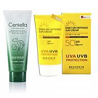 Bộ sản phẩm tẩy da chết tái tạo phục hồi da Centella Cica và Kem chống nắng kiểm soát dầu DAILY UV DEFENSE SUN CREAM thumbnail