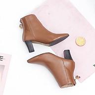 Giày Boot Lửng Cao Gót Mũi Nhọn 6cm Da Bò Thật Màu Nâu Pixie P349 thumbnail