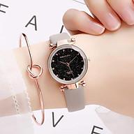 Đồng hồ đeo tay nữ mặt nhỏ, dây da nhiều màu thời trang, phong cách Hàn Quốc DOU3422-5, Tặng vòng đeo tay - Hàng nhập khẩu thumbnail