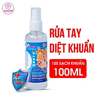Gel rửa tay khô AVATAR - Xịt kháng khuẩn - Dạng xịt - 75% CỒN (100ml) - Có chứng nhận chất lượng từ PASTEUR thumbnail