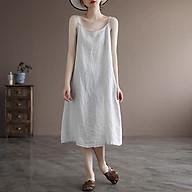 Đầm mặc nhà linen 2 dây trẻ trung ArcticHunter, chất vải linen mềm mát, thời trang thương hiệu chính hãng thumbnail