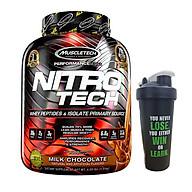 Combo Sữa tăng cơ cao cấp Whey Protein Nitro Tech của MuscleTech hương Chocolate hộp 40 lần dùng 4 LBS & Bình lắc 600 ml (Màu Ngẫu Nhiên) thumbnail