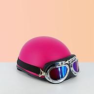 Mũ bảo hiểm nửa đầu 1 2 SRT - Mũ bảo hiểm trơn ( lồng ép nhiệt ) - Màu hồng, tặng lưỡi trai thumbnail