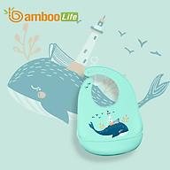 Yếm ăn dặm cho bé Bamboo Life BL068 hàng chính hãng Yếm ăn dặm silicon Yếm ăn dặm có máng chống bám bẩn Đồ dùng ăn dặm cho bé thumbnail