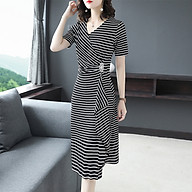 New black and white contrast color high waist irregular striped dress thumbnail