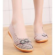 Giày búp bê nữ vải caro cao 2cm đi bộ cực êm chân V220 thumbnail