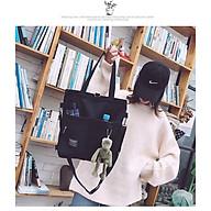 Túi xách vải học sinh canvas MÀU ĐEN BY140 thumbnail