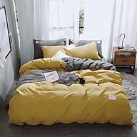 Bộ vỏ chăn drap gối cotton TC một màu (Vàng) thumbnail