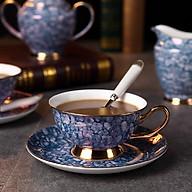 Bộ cốc đôi bằng sứ xương cao cấp kèm giá treo với họa tiết Saphire mang phong cách Châu Âu sang trọng - Màu xanh (Dark Blue) thumbnail