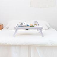 Bàn ăn sáng bằng gỗ- bàn mini màu trắng xếp gọn thumbnail