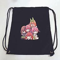 Balo dây rút đen in hình NHÀ CÓ NĂM NÀNG DÂU anime chibi túi rút đi học xinh xắn thời trang thumbnail