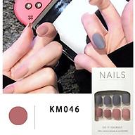 Bộ 24 móng tay giả đẹp (KM046) tặng kèm thun lò xo cột tóc màu đen tiện lợi thumbnail