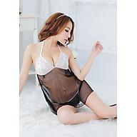 Váy ngủ lưới phối ren 2 màu sexy, kèm quần lót lọt khe VN05, Freesize thumbnail