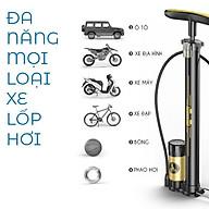 Bơm xe đạp xe máy ô tô và bóng khí bằng chân đa năng thân nhôm có đồng hồ - Hàng chính hãng thumbnail