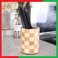 Ống Gỗ đựng Đũa Hình Trụ bằng gỗ Tre ép chống mối mọt cong vênh tiện lợi để bàn bếp,Có lỗ thoát nước,Kích thước 10 x 13 cm,Màu họa tiết phá cách - Ống gỗ để Đũa Thìa Muôi tiện dụng thumbnail