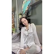 Bộ đồ ngủ, đồ bộ Pijama lụa nữ mặc nhà bộ ngủ lụa satin trơn tay dài quần dài thumbnail