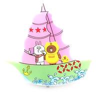 Đèn Ngủ Thuyền Hình Gấu Brown & Thỏ Cony - Màu Hồng thumbnail