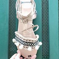 Giày sandal thổ cẩm cột dây màu da (hình thật) thumbnail