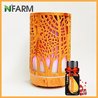 Máy khuếch tán máy xông tinh dầu hình Trụ Cây N Farm FX2064 + tinh dầu cam hương N Farm (10ml). thumbnail