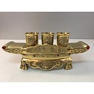 Đồ thờ cúng bằng đồng, Bộ Khay chén 3 đồng vàng ( ly chén có khắc hoa sen ) đồng chính hãng thumbnail